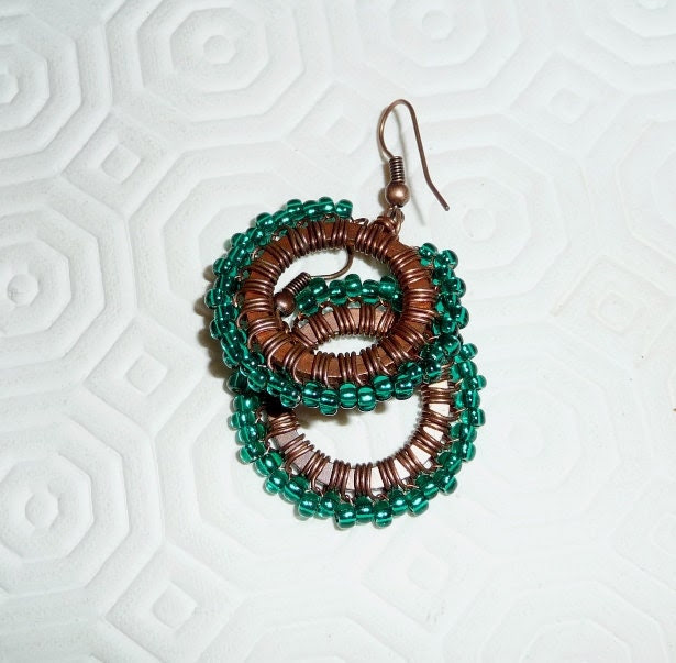 Copper earings, wire wrapped, oxidised, patinated, glass, teal, green, hoops, wire work, beaded, circle, spring, - mmgem