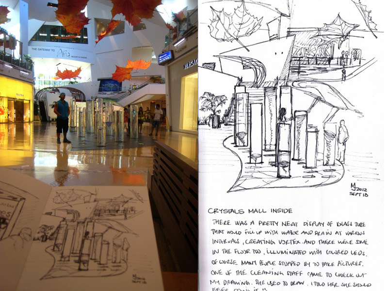 MJ SKETCHBOOK | Urban Sketcher - Las Vegas Crystals Mall Aria