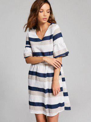 Flare Sleeve Cut Out Striped Dress - Multi L