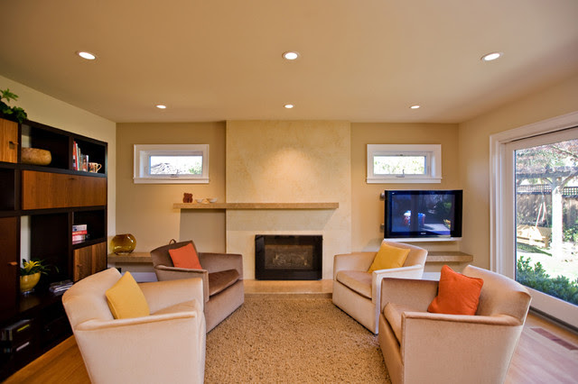 living room with travertine and venetian marble fireplace - modern ...