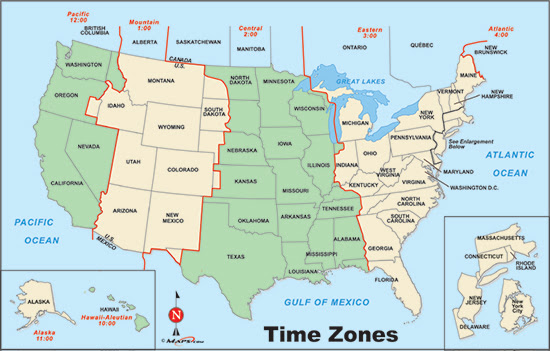 Maps Usa Map Time Zones - Time change map usa