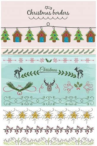 Christmas borders and dividers cute vector collection