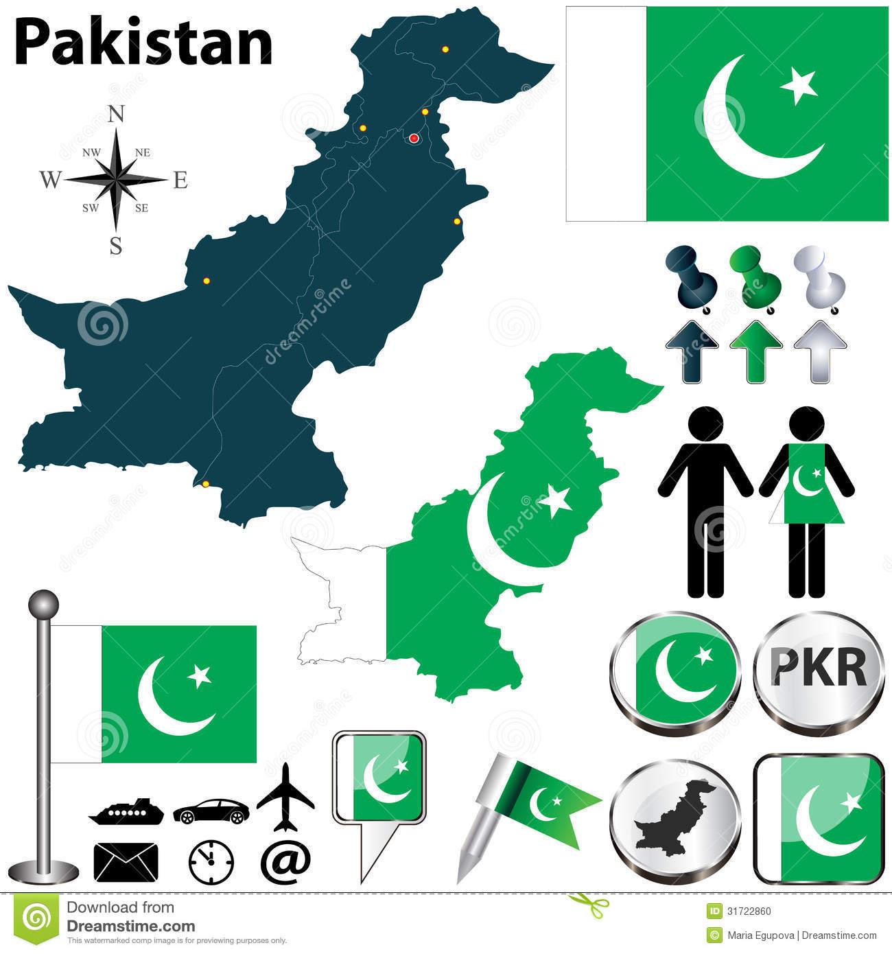 Map Of Pakistan Stock Vector Image Of Vector Icon