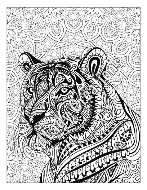 zen tiger animal art page  color zentangle animal