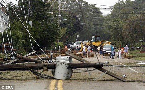 Fallen power lines in Hampton Bays, New York after Hurricane Irene struck