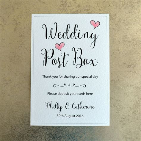 Wedding Post Box Card Sign Personalised with Bride & Groom