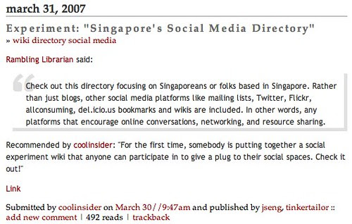 """Experiment: """"Singapore's Social Media Directory"""" - listed at Tomorrow.sg"""