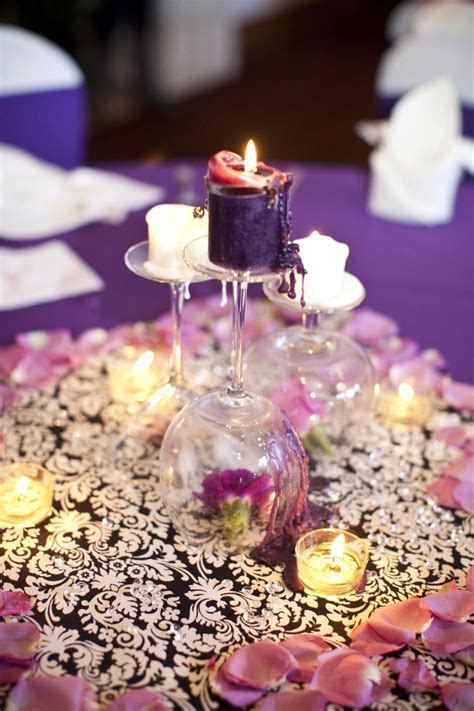 upside down wine glass centerpiece   Wedding Ideas