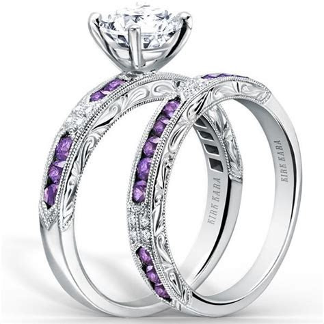 "Kirk Kara ""Charlotte"" Purple Amethyst Diamond Engagement Ring"