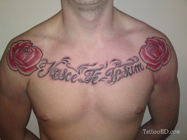 Nose Te Lesum And Red Roses Chest Tattoo