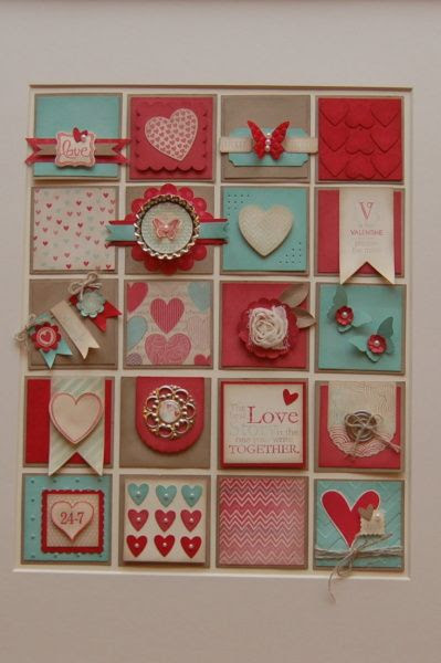 Valentine framed Collage using stampin up supplies.