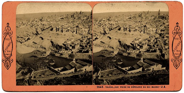 Vista desde la Piedra del Rey Moro. Fotografía estereoscópica de Jean Andrieu en 1868 con número de serie 2645