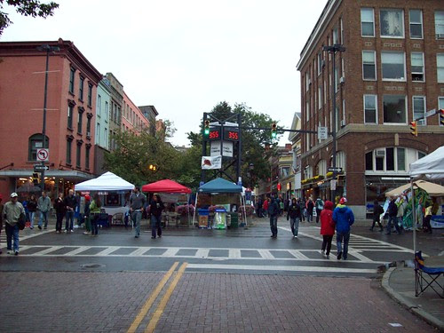 Ithaca: Looking up the street