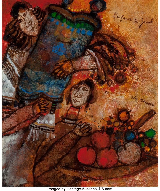 Fine Art - Painting, European:Modern  (1900 1949)  , Théo Tobiasse (French, 1927-2012). L'Enfance de Jacob. Oiland mixed media on canvas. 21-1/2 x 18 inches (54.6 x 45.7 cm...