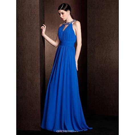 Court Train Chiffon / Stretch Satin Bridesmaid Dress