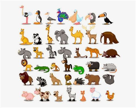 ditayangkan gambar animasi hewan bergerak  lucu