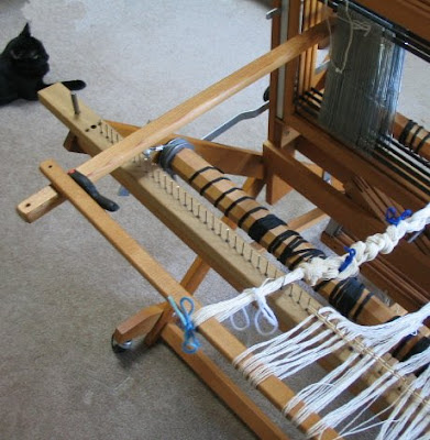 View of raddle from the back of my jack loom.