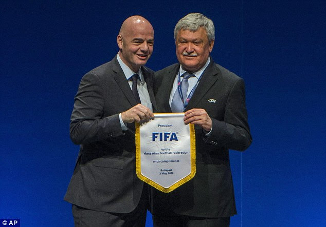 FIFA president Gianni Infantino (left) pledged$5million to every FIFA territory over five years but is now back-pedalling and wants richer nations to waive their bonus