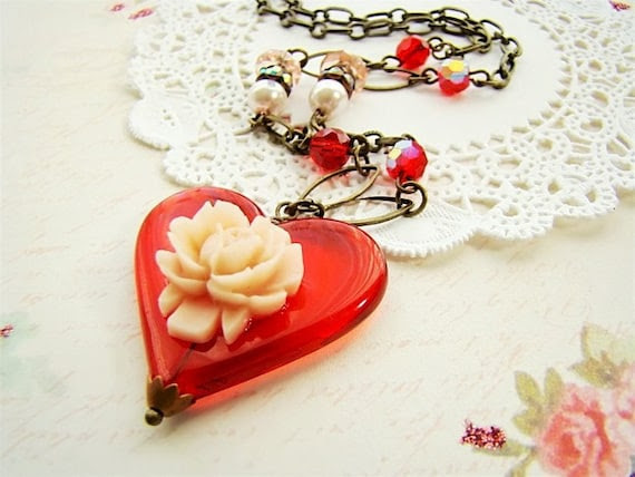 Chic Valentine Heart Assemblage Necklace with Roses & Rhinestones by Alyssabeths