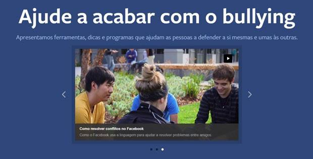 Página do Facebook para prevenir o bullying. (Foto: Reprodução/Facebook)