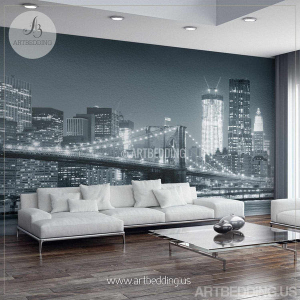 New York Cityscape Wall Mural Brooklyn Bridge Photo