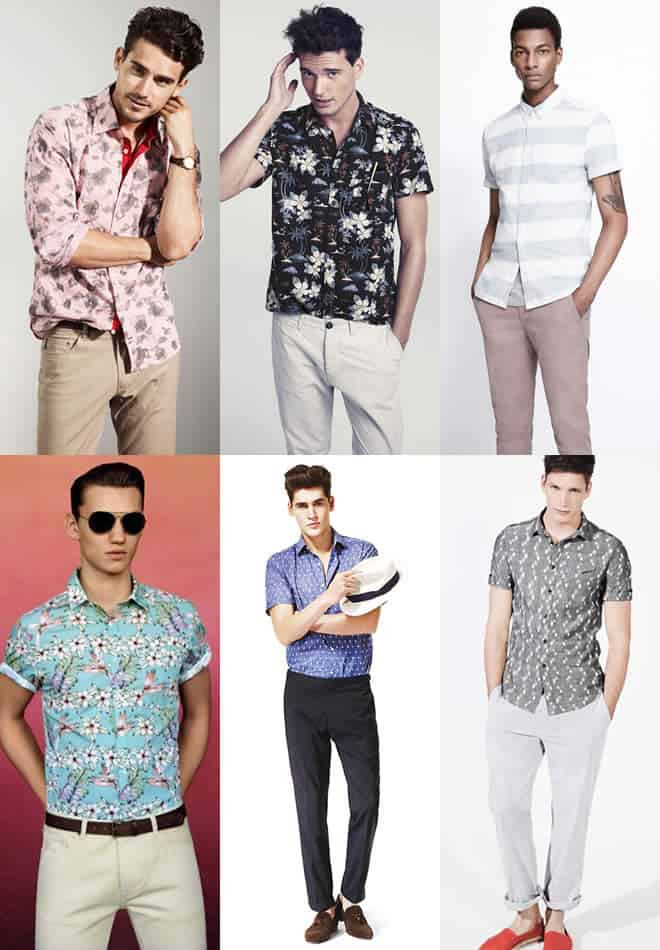 Patterned shirt and chinos combination examples