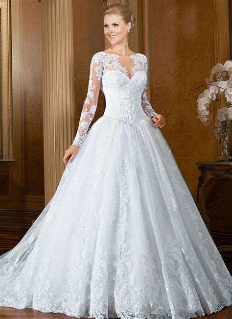white wedding dresses with long sleeves    White Wedding