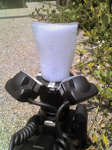 DIY concave Diffuser for the MT24EX on a canon 40D and MPE65 Macro Lens