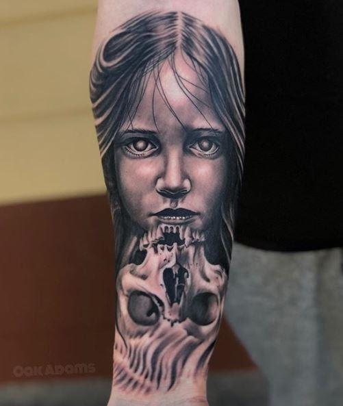 Painted Temple Tattoos Blackwork Black And Gray Skull Tattoo