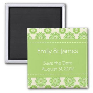 Spring Green Floral Save the Date Magnet magnet
