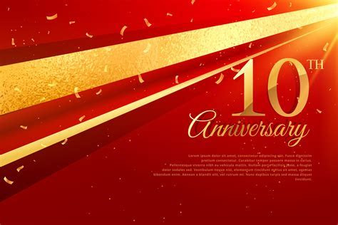 10th anniversary celebration card template   Download Free
