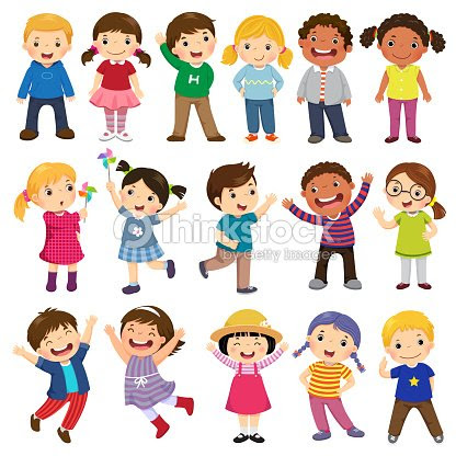 Colección De Dibujos Animados De Niños Felices Niños Multiculturales