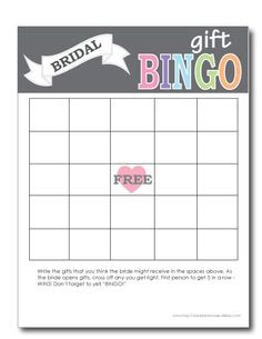 printable bridal shower bingo cards | Bridal Shower | Pinterest ...