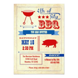 "Vintage 4th of July BBQ Invitation 5"" X 7"" Invitation Card"