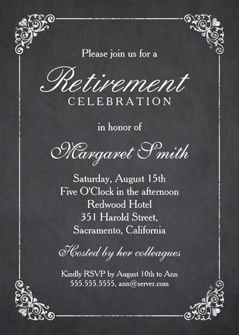 Elegant Chalkboard Retirement Party Invitation Template