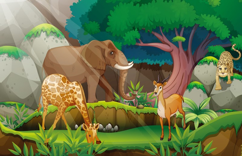 Wow 18 Gambar Hutan Dan Binatang Kartun Gani Gambar