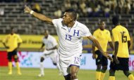 Honduras' Carlos Costly celebrates after scoring a goal against Jamaica in their 2014 World Cup qualifying soccer match in Kingston, October 15, 2013. REUTERS/Gilbert Bellamy