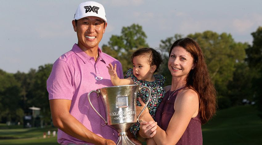 James Hahn with wife Stephanie, daughter Kailee and trophy Wells Fargo