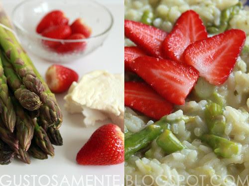 Riso con robiola di Roccaverano, asparagi e fragole fresche