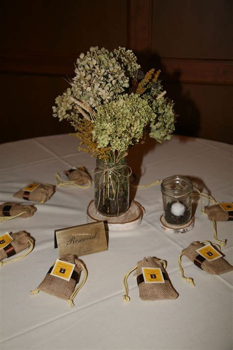 Our table decorations   free dried flowers (hydrangeas