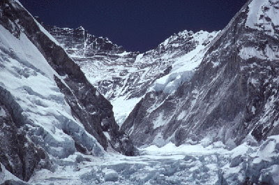 Western cwm between Everest (left) and Nuptse (right) showing south-vergent folds in the Lhotse calc-silicate bands. Khumbu Himalaya, Nepal