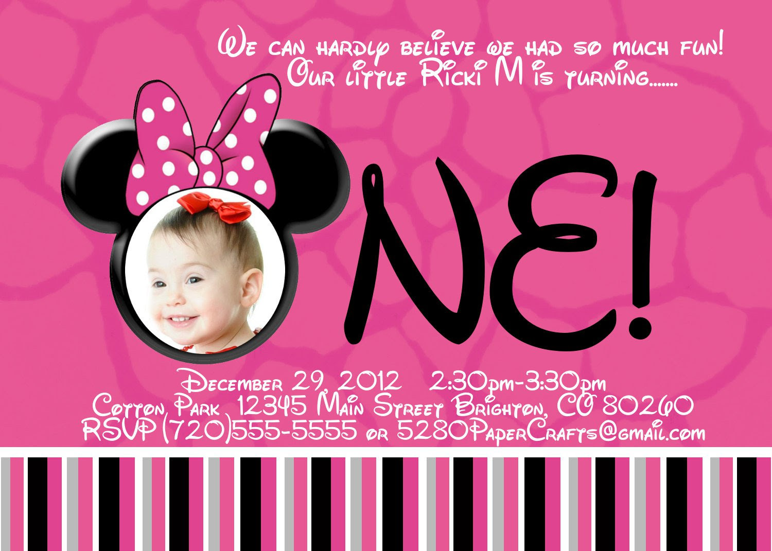Free Printable Minnie Mouse Birthday Invitations For Your ...