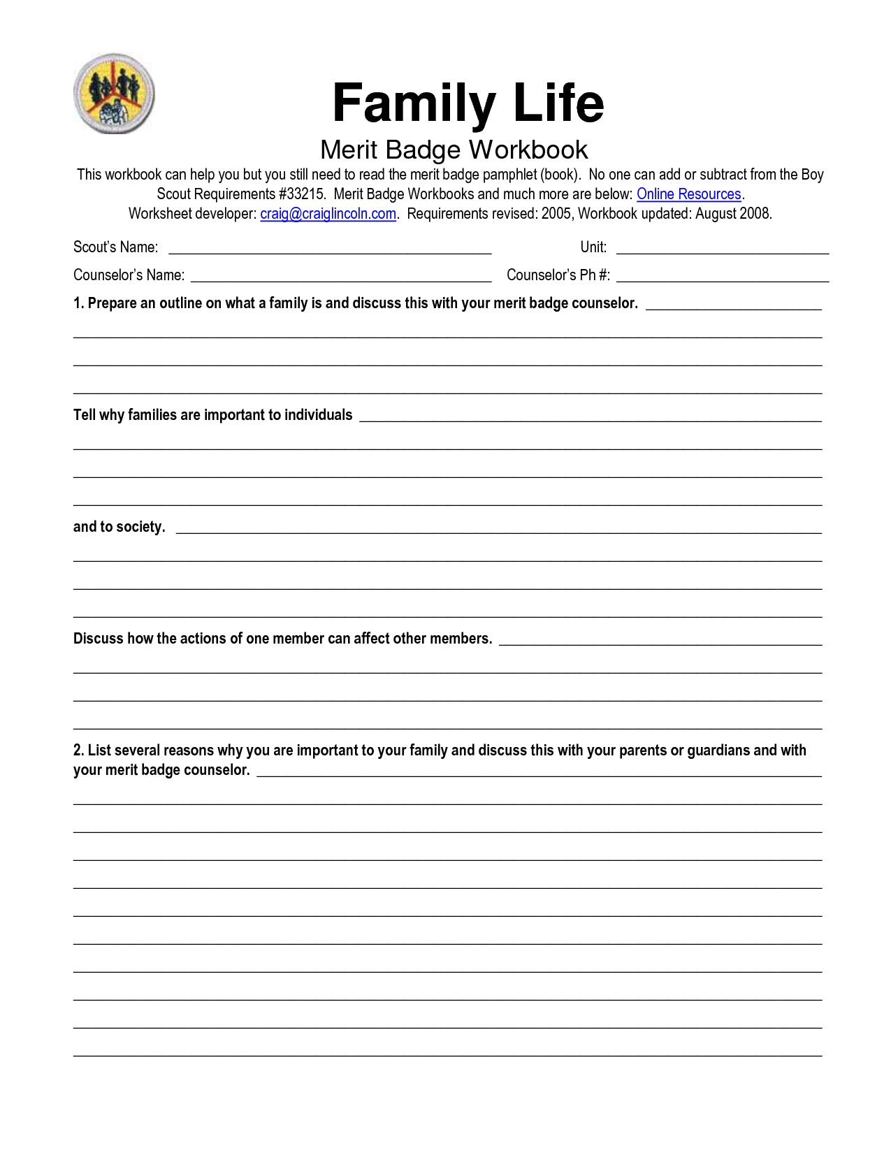 67 FAMILY ROLES WORKSHEET PDF