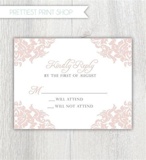Printable wedding invitation enclosure card RSVP