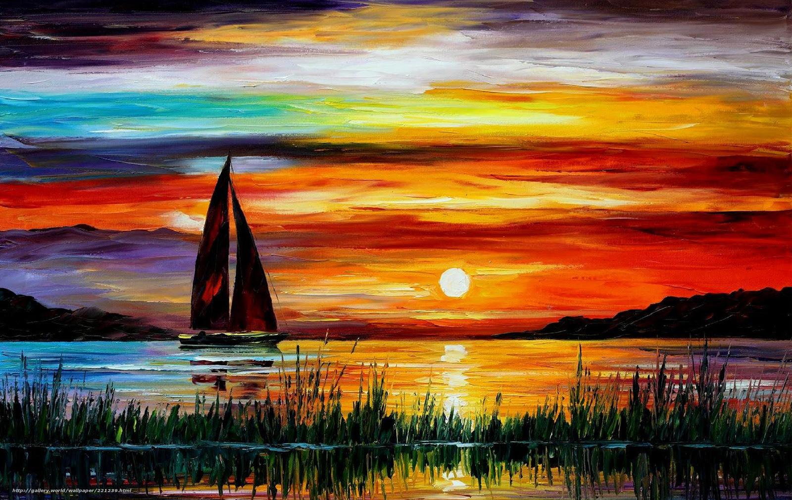 Download Wallpaper Sunset Sea Boat Picture Free Desktop