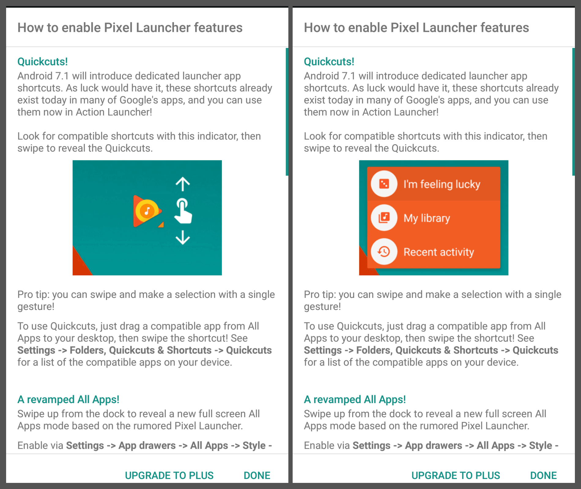 Enable Action Launcher Feature