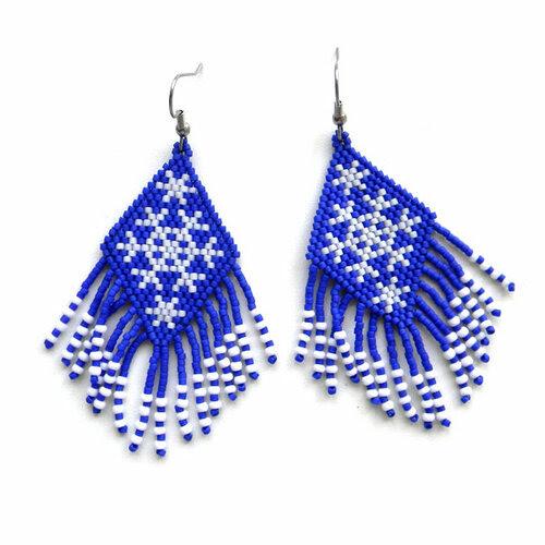 купить украшения из бисера ручной работы сережки с орнаментом снежинки