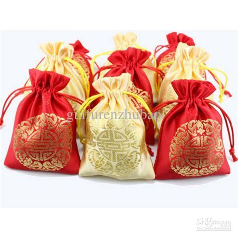 2019 Cheap Small Silk Fabric Drawstring Bags Chinese Lucky