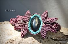 FIBER cuff bracelet LEAVES with silver sheen OBSIDIAN, burgundy & turquoise hand-knotted adjustable bracelet