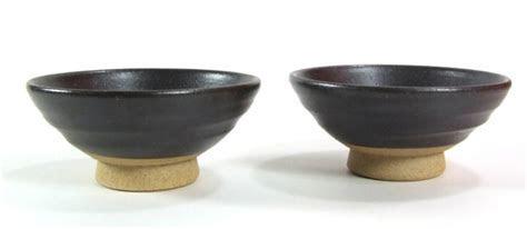 Sake cups traditional Japanese stoneware black X 2